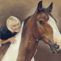 horse and rider pastel portrait